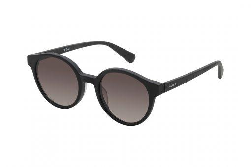 משקפי שמש עגולים, מסגרת בגוון שחור מט, עדשות בגוון ורוד מדורג