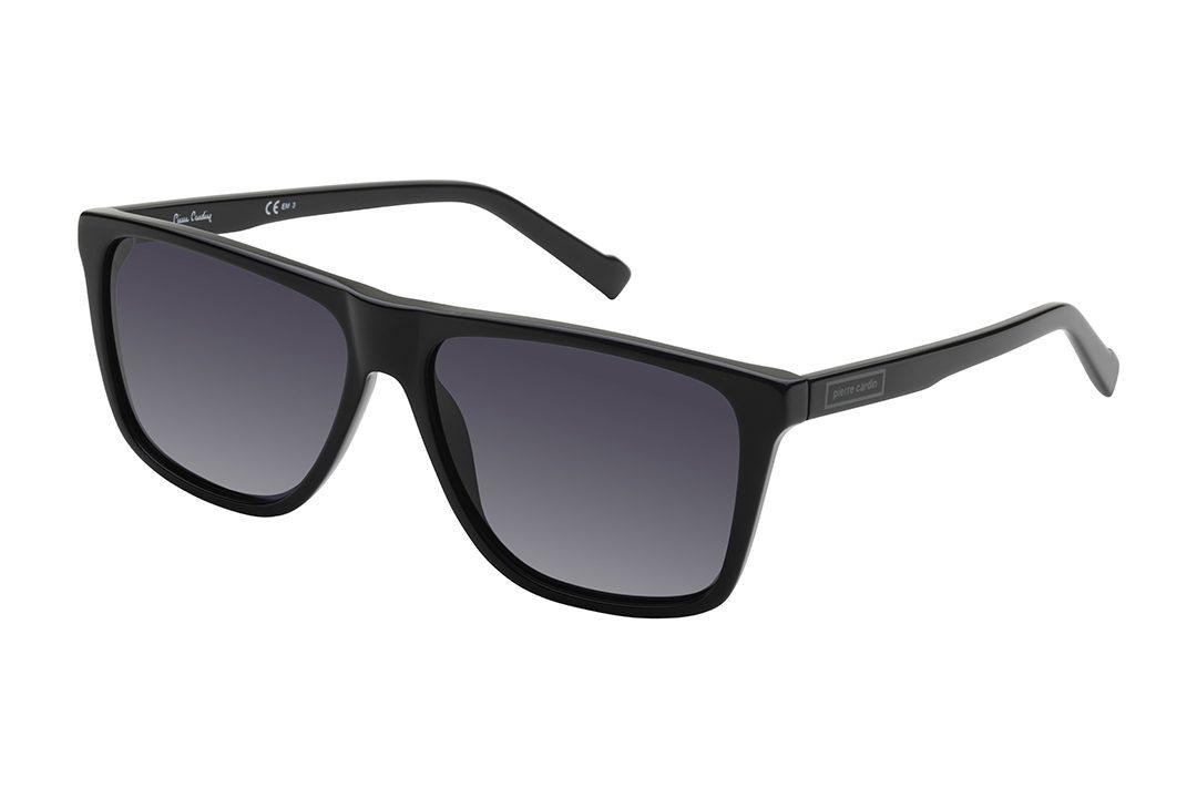 משקפי שמש גבריים מבית Pierre Cardin במסגרת אצטט שחורה דקה ועדשות בגוון אפור