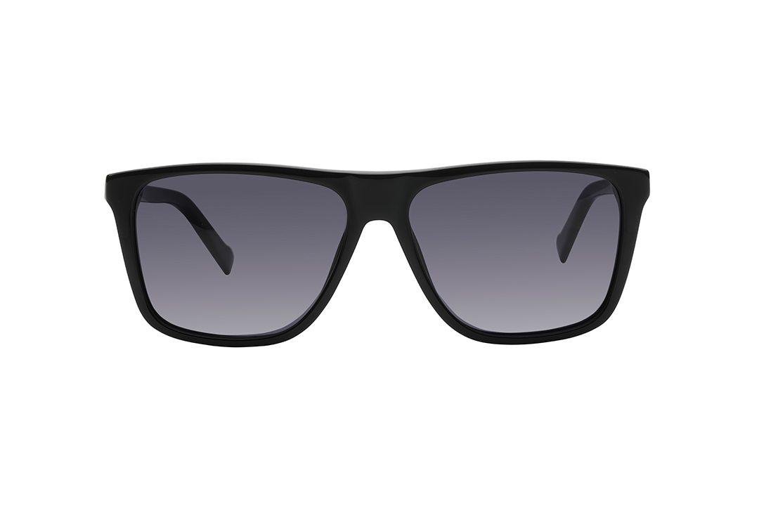 משקפי שמש גבריים מרובעים, מסגרת וזרועות אצטט דקות בצבע שחור ועדשות אפורות
