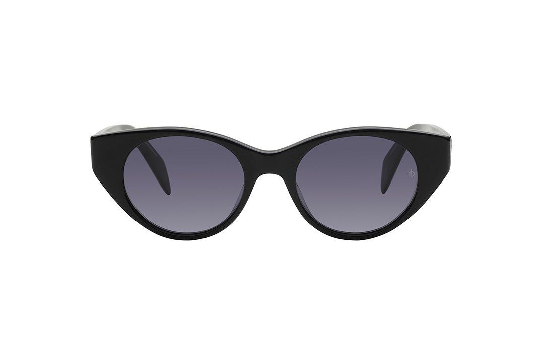 משקפי שמש חתוליים, חזית וזרועות בצבע שחור מבריק, עדשות בצבע אפור