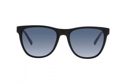 משקפי שמש גבריים מרובעים, מסגרת בצבע שחור, זרועות במראה הזרקה של כחול בתוך שקוף, עדשות בגוון אפור