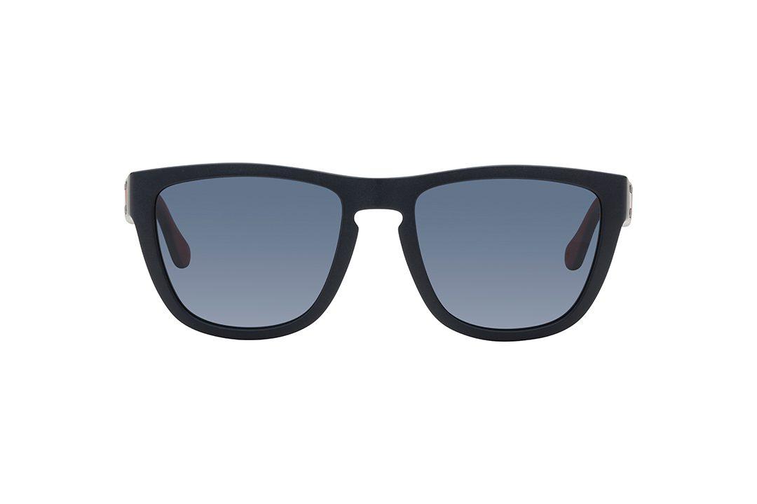משקפי שמש גבריים מרובעים, מסגרת וזרועות בגימור כחול כהה מט,  עדשות בגוון כחול