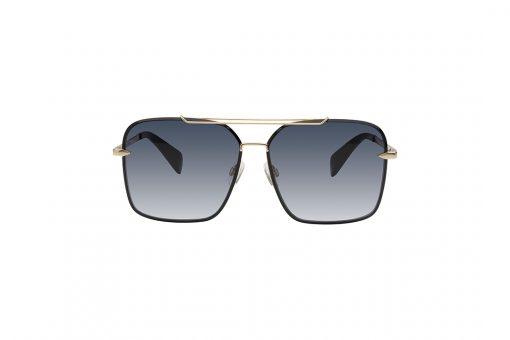 משקפי שמש מבית Rag & Bone במסגרת מתכת מרובעת בגווני שחור וזהב עם עדשות כהות מדורגות