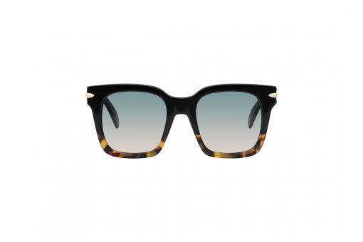 משקפי שמש מבית Rag & Bone במסגרת אובר סייז מרובעת בגווני שחור-מנומר וקישוט צד בגוון זהב