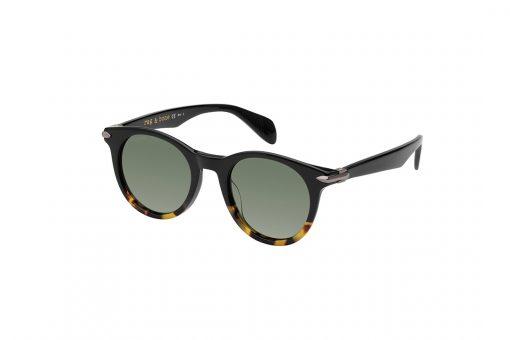 משקפי שמש מבית Rag & Bone במסגרת עגולה בגוון שחור-מנומר עם קישוט צד בגוון זהב