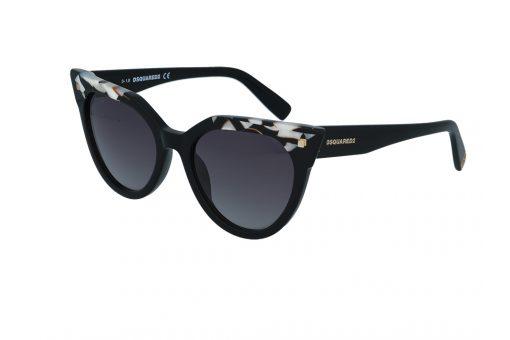 משקפי שמש מבית DSQUARED בדגם חתולי עם פרונט בגוון שחור ועיטורים גיאומטרים