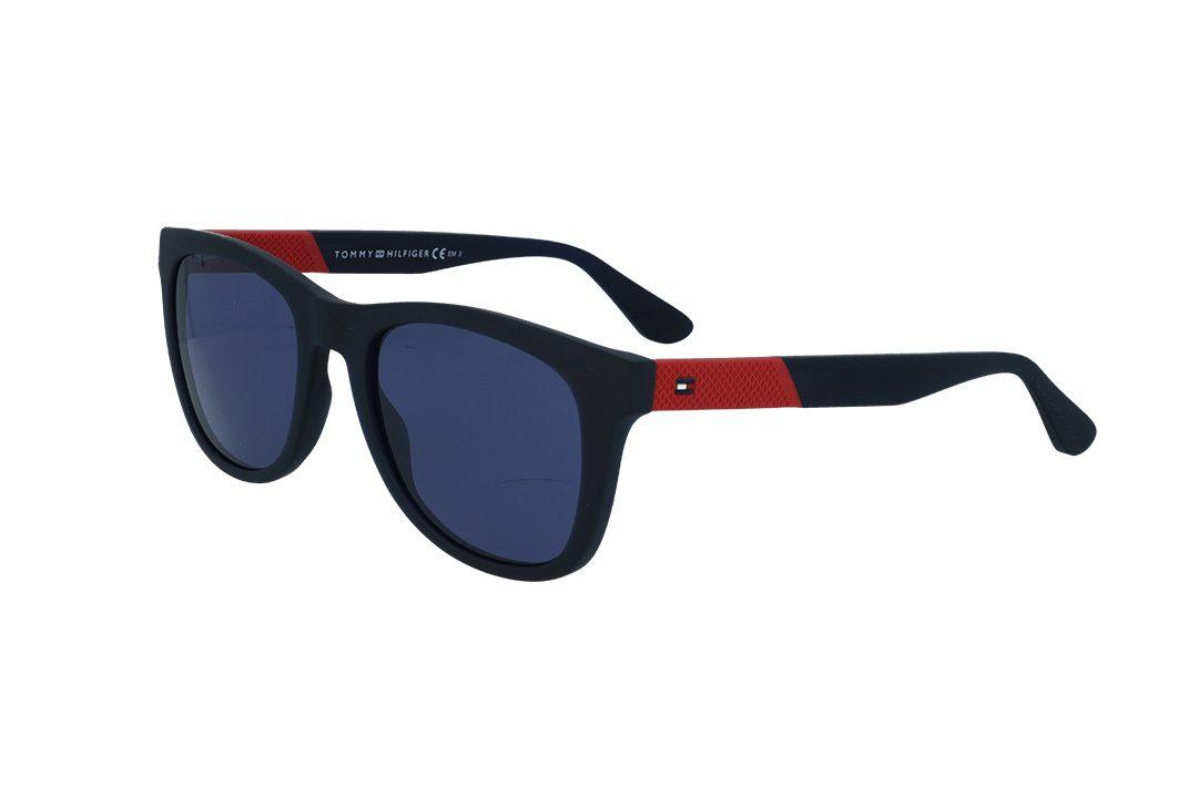 משקפי שמש מבית Tommy Hilfiger בדגם יוניסקס מרובע בגוון שחור ועדשות כחולות