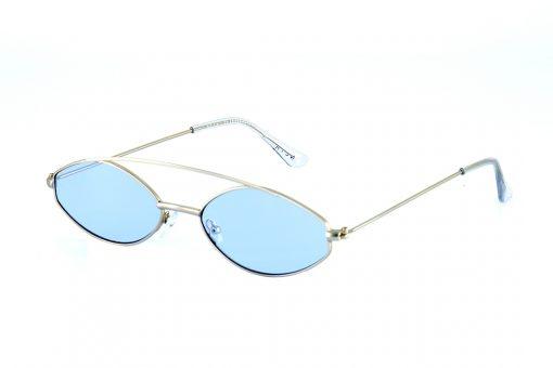 משקפי שמש מקולקציית הקפסולה של נטע אלחמיסטר בדגם מיניסייז בגוון כסוף ועדשות בגוון תכלת