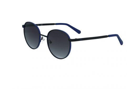 משקפי שמש מבית GUESS בדגם עגול בגווני שחור וכחול ועדשות מדורגות