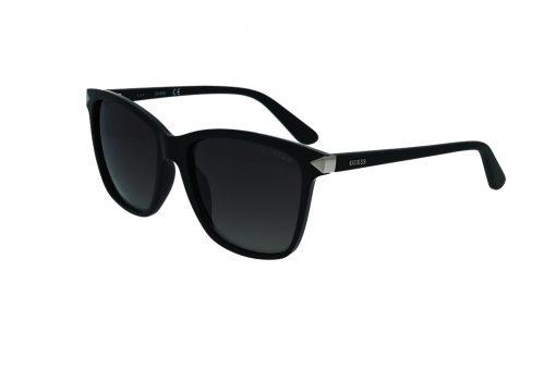 משקפי שמש מבית GUESS בדגם מרובע עם פרונט בגוון שחור מבריק וזרועות בגוון שחור מט