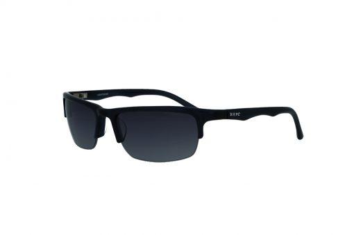 משקפי שמש מבית BHPC במסגרת מרובעת בגוון שחור מבריק - חצי מסגרת עם עדשות בגוון אפור מדורג