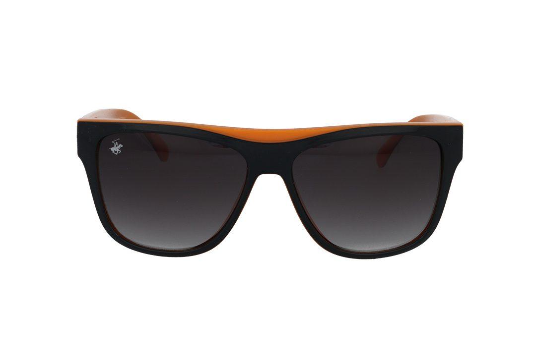 משקפי שמש מבית BHPC במסגרת מרובעת בגוון שחור כתום עם עדשות בגוון אפור מדורג