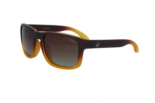 משקפי שמש מבית BHPC במסגרת מרובעת בגוון חום כתום עם עדשות בגוון חום מדורג