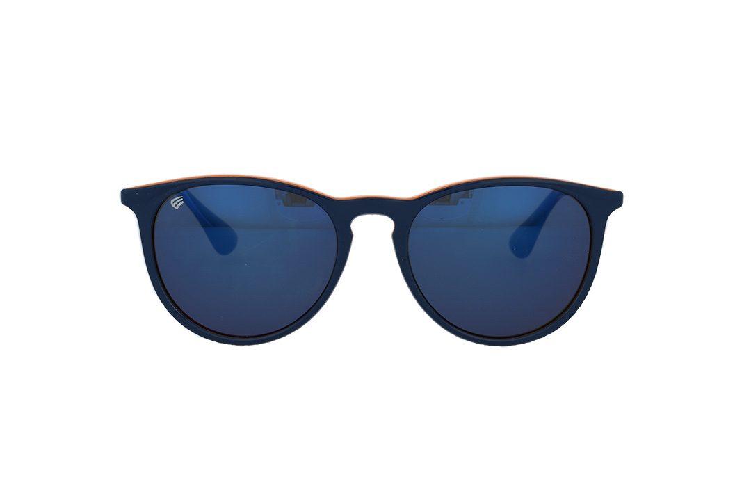 משקפי שמש מבית ERROCA EYEWEAR במסגרת בגוון כחול - כתום בשילוב מתכת עם עדשות מראה כחולות