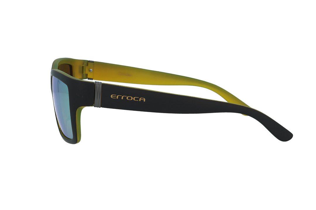 משקפי שמש מבית ERROCA EYEWEAR במסגרת מרובעת גברית בגווני שחור-צהוב ועדשות מראה צהובות