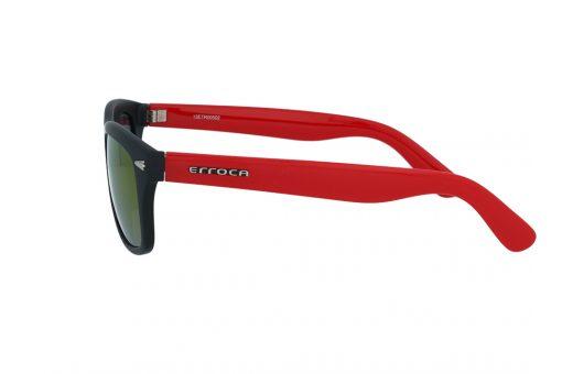 משקפי שמש מבית ERROCA EYEWEAR במסגרת מרובעת בגווני שחור-אדום ועדשות מראה צבעוניות