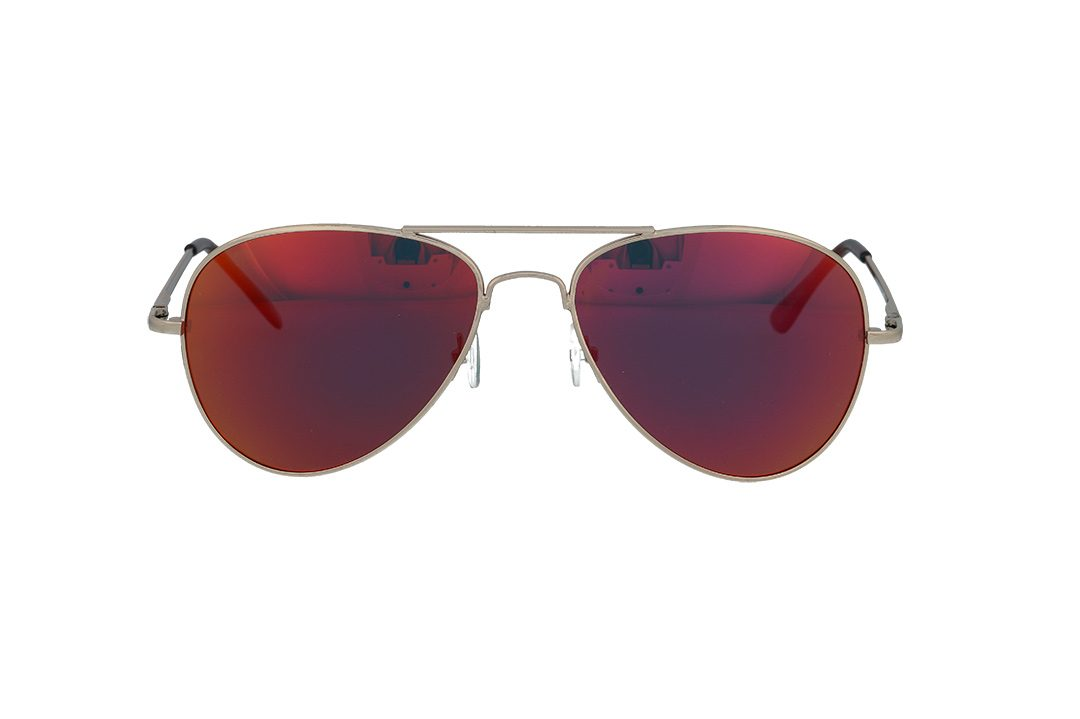 משקפי שמש מבית ERROCA EYEWEAR במסגרת טייסים קלאסית ועדשות מראה בגוון אדום
