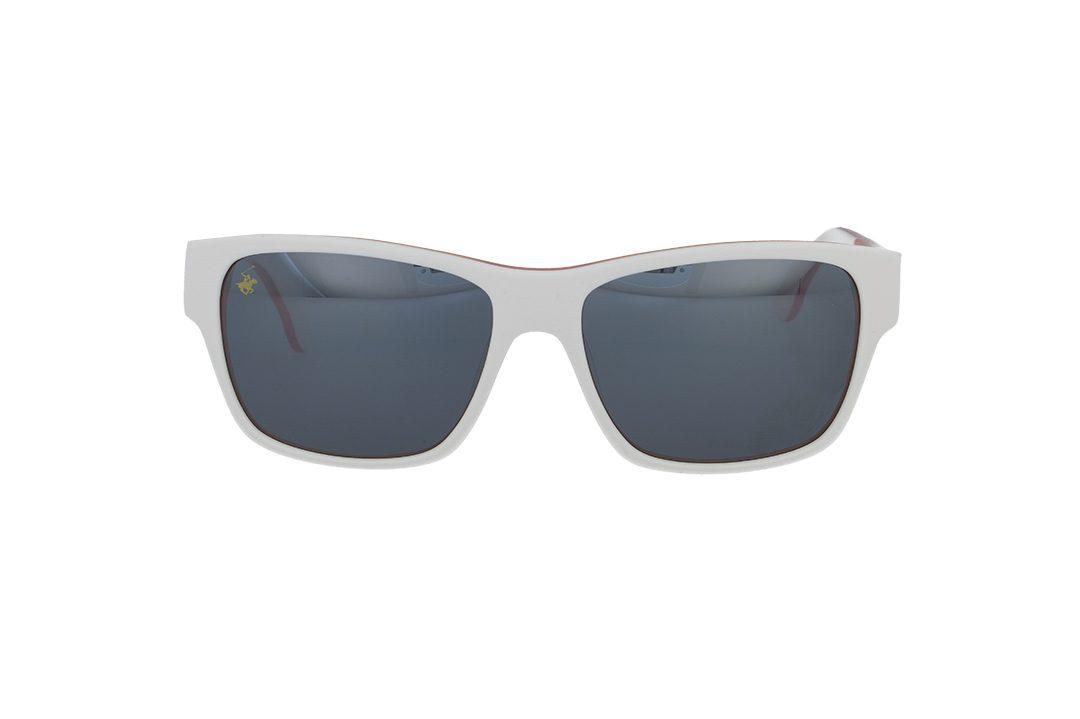 משקפי שמש מבית BHPC במסגרת מרובעת בגוון לבן כתום עם עדשות מראה בגוון כסוף