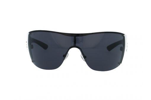 משקפי שמש מבית BHPC במסגרת אובר סייז מרובע בסגנון מסיכה, זרועות בצבע לבן שחור , עדשות אפורות