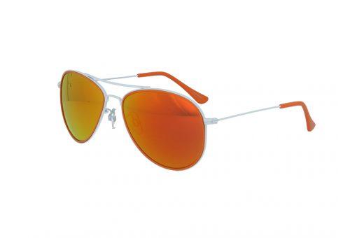משקפי שמש מבית ERROCA EYEWEAR במסגרת מתכת בעיצוב טייסים בגווני כתום ולבן ועדשות מראה
