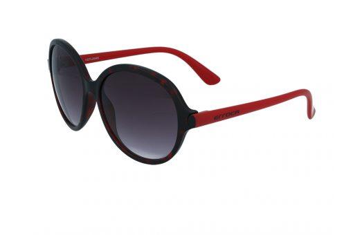 משקפי שמש מבית ERROCA EYEWEAR במסגרת אובר סייז עגולהבגוון אדום ושחור ועדשות בגוון אפור מדורג