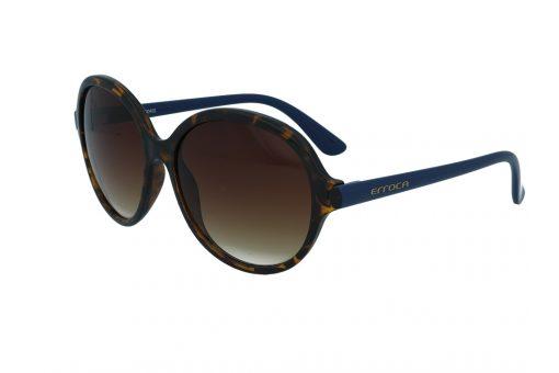 משקפי שמש מבית ERROCA EYEWEAR במסגרת עגולה גדולה מנומרת עם זרועות כחולות  ועדשות בגוון חום מדורג