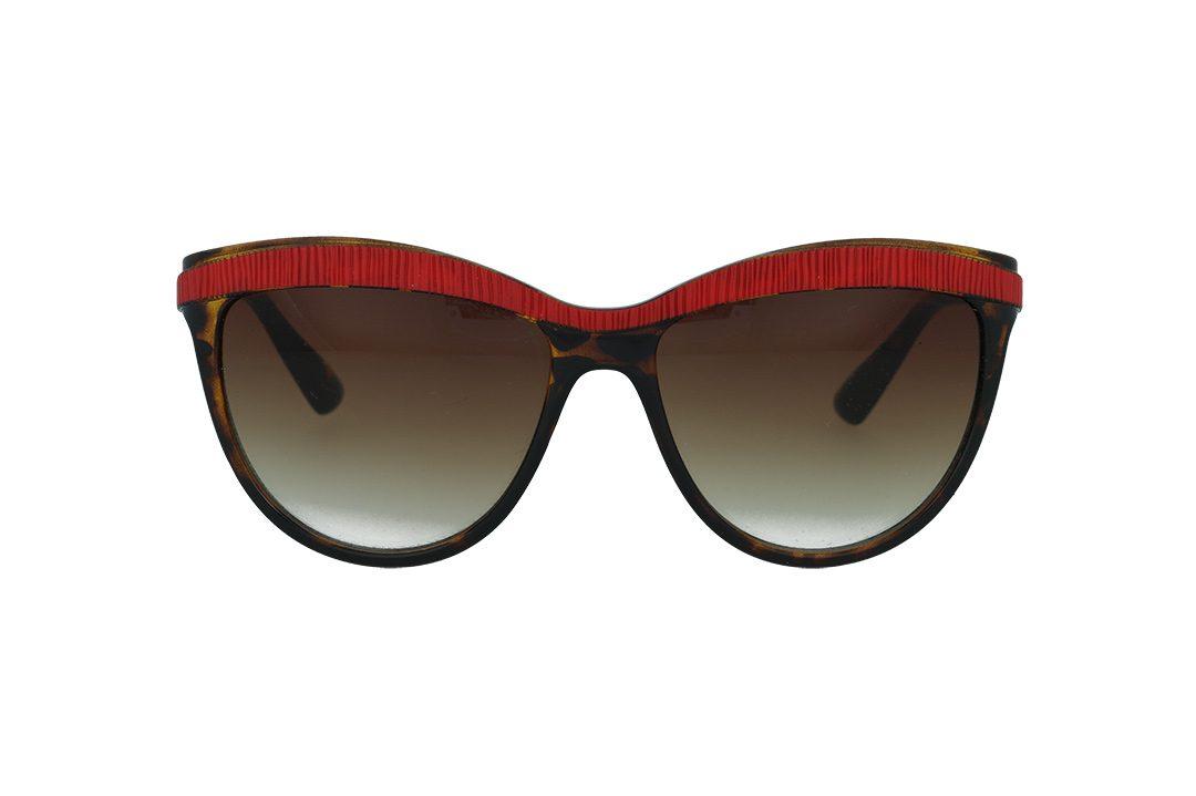 משקפי שמש מבית ERROCA EYEWEAR מסגרת מרובעת מנומרת עם פס אדום ממותג הבית , עדשות חום מדורג