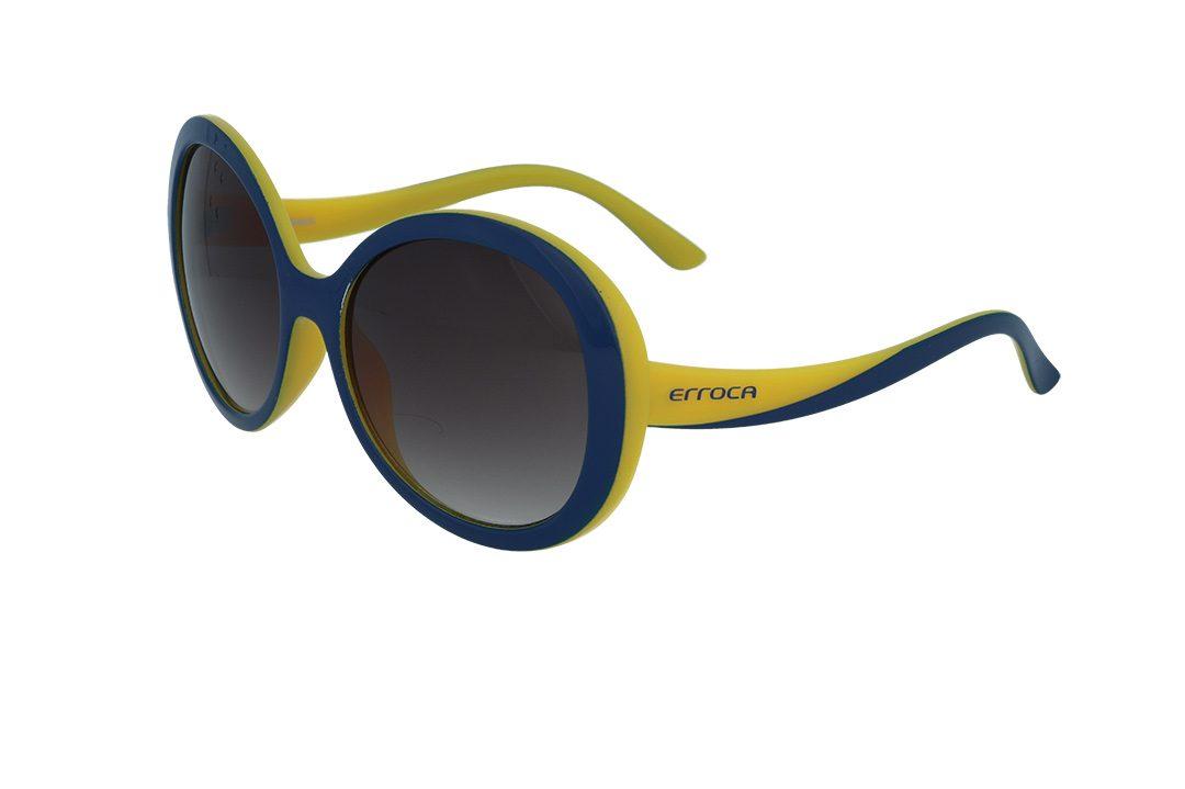 משקפי שמש מבית ERROCA EYEWEAR במסגרת במסגרת אובר סייז עגולה בגוון כחול כהה בשילוב צהוב עם עדשות חומות מדורגות