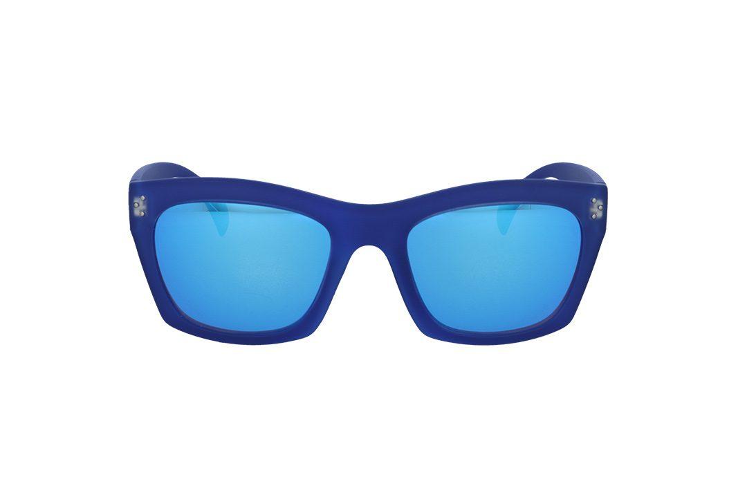 משקפי שמש מבית ERROCA EYEWEAR במסגרת מרובעת בגוון כחול חלבי ועדשות מראה כחולות