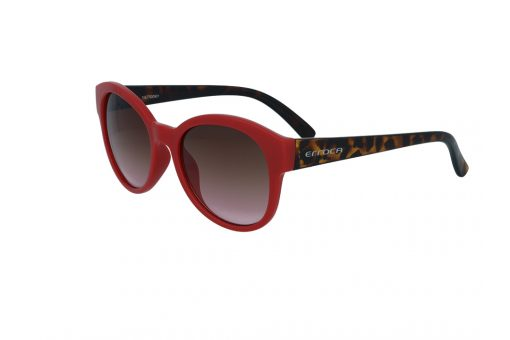 משקפי שמש מבית ERROCA EYEWEAR במסגרת  בעלת פרונט בצבע אדום וזרועות מנומרות