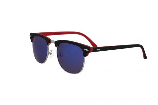 משקפי שמש מבית ERROCA EYEWEAR במסגרת בגוון אדום-שחור בעלות עדשות מראה כחולות בעיצוב קלאב-מאסטר