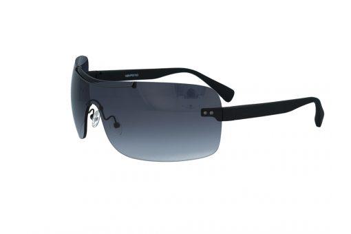 משקפי שמש מבית BHPC במסגרת ברגים של בסגנון מסיכה עם זרועות שחורות עדשות אפורות מדורגות