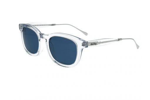 משקפי שמש COOLRAY במסגרת מרובעת שקופה בשילוב מתכת ממותג הבית, עדשות כחולות