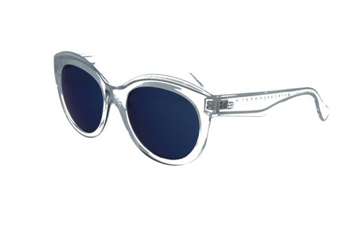 משקפי שמש מבית ERROCA EYEWEAR במסגרת, בעלת עדשות מראה כחולה ומסגרת שקופה