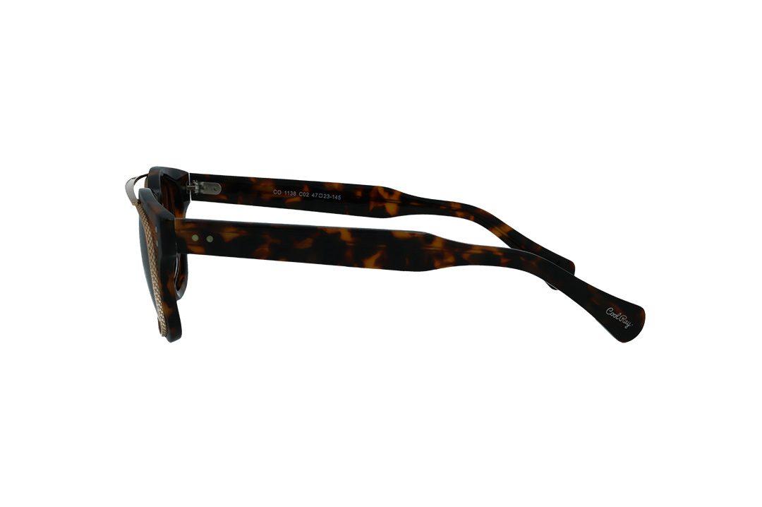 משקפי שמש מבית COOLRAY במסגרת מרובעת מנומרת עם עדשות אפורות