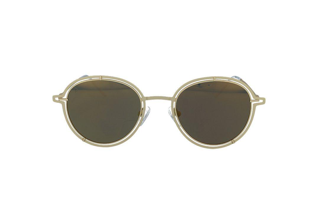 משקפי שמש מבית COOLRAY במסגרת עגולה זהובה עם עדשות מראה זהובות