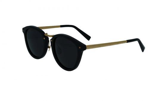 משקפי שמש מבית COOLRAY במסגרת עגולה שחורה בשילוב מתכת זהב עם עדשות אפורות