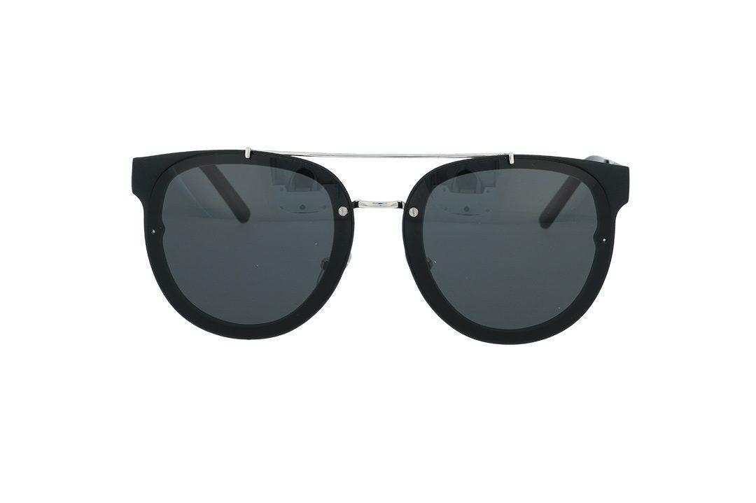 משקפי שמש מבית COOLRAY במסגרת עגולה שחורה בשילוב מתכת בעלת עדשות אפורות כהות