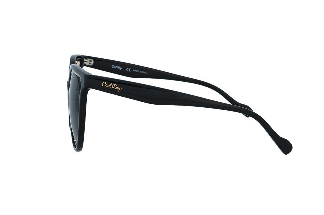 משקפי שמש מבית COOLRAY במסגרת עגולה פלסטיק שחורה זהב מסביב בעלת עדשות אפורות