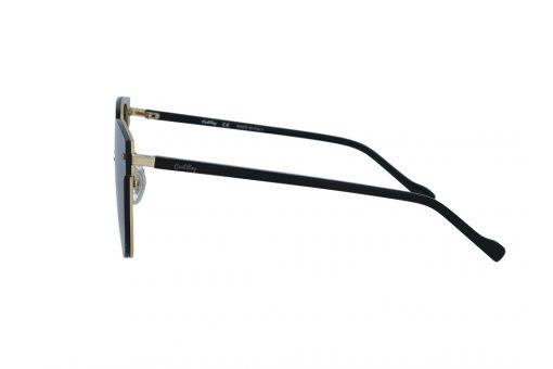 משקפי שמש מבית COOLRAY במסגרת מרובעת מתכת זהב עם זרועות שחורות בעלת עדשות אפורות