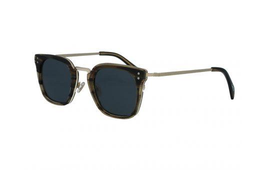 משקפי שמש מבית COOLRAY במסגרת מרובעת מתכת למחצה זהב חום בעלת עדשות אפורות