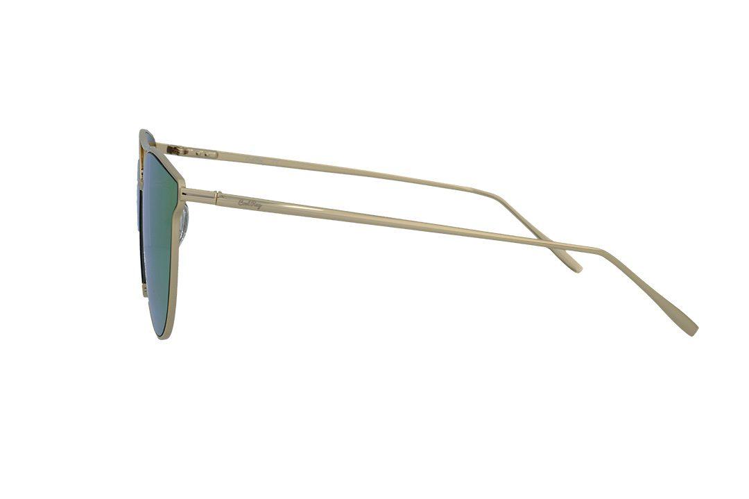 משקפי שמש מבית COOLRAY במסגרת חתולית ממתכת זהובה בעלת עדשות מראה גולדן רוז