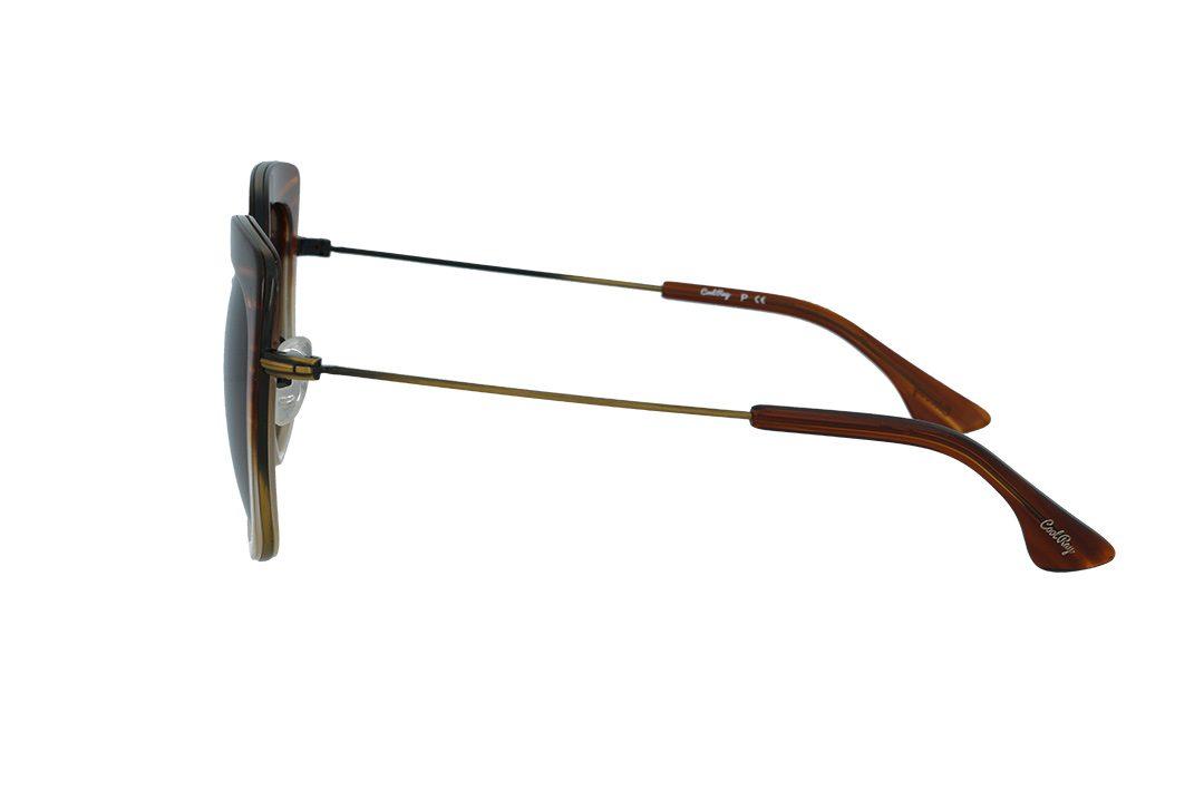 משקפי שמש מבית COOLRAY במסגרת פלסטיק למחצה - מרובעת חום אופרייט בעלת עדשות  בגוון חום מדורג