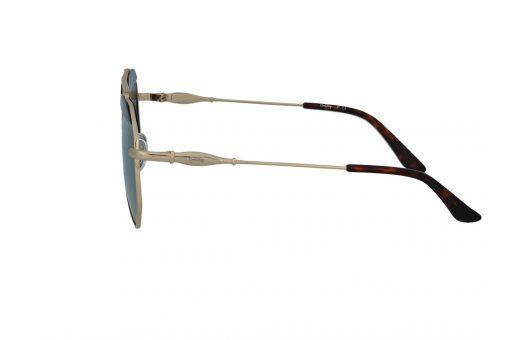 משקפי שמש מבית COOLRAY במסגרת גיאומטרית עם עדשות מראה בגוון זהוב