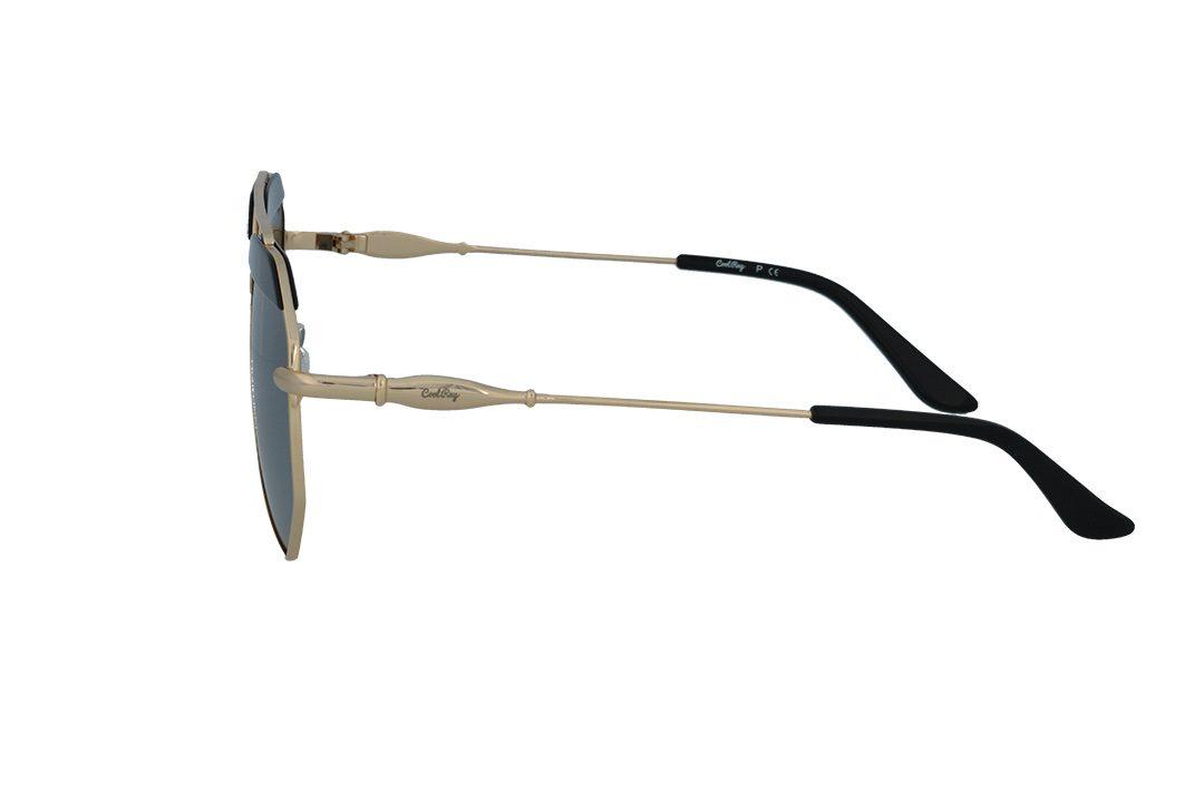 משקפי שמש מבית COOLRAY במסגרת גיאומטרית עם עדשות מראה בגוון כסוף