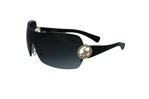 משקפי שמש מבית BHPC במסגרת בסגנון מסיכה עם לוגו בבגוון זהב, זרועות שחורות ועדשות בגוון חום מדורג