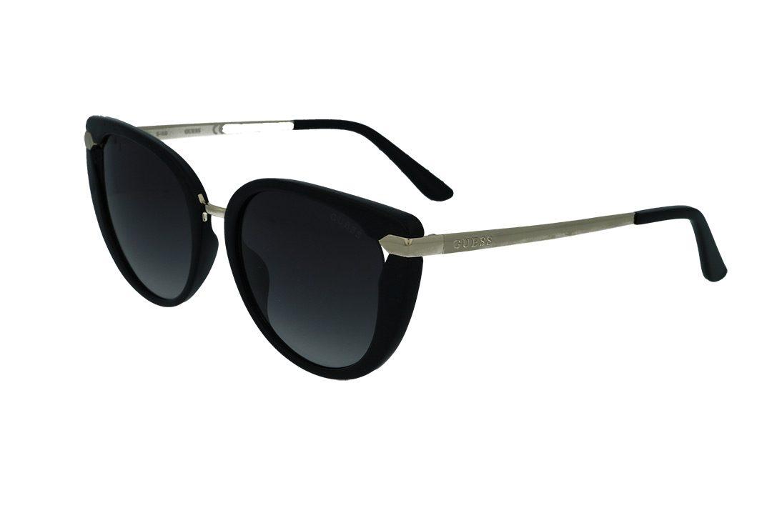 משקפי שמש מבית GUESS בדגם חתולי נשי בגווני שחור וזהב ועדשות כהות מדורגות