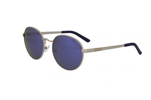 משקפי שמש מבית GUESS בדגם עגול קלאסי עם עדשות מראה בגוון כחול