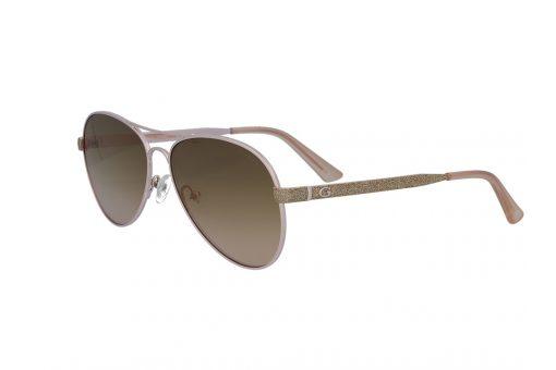 משקפי שמש מבית GUESS בדגם טייסים נשי בגוון רוז גולד וזהב מנצנץ