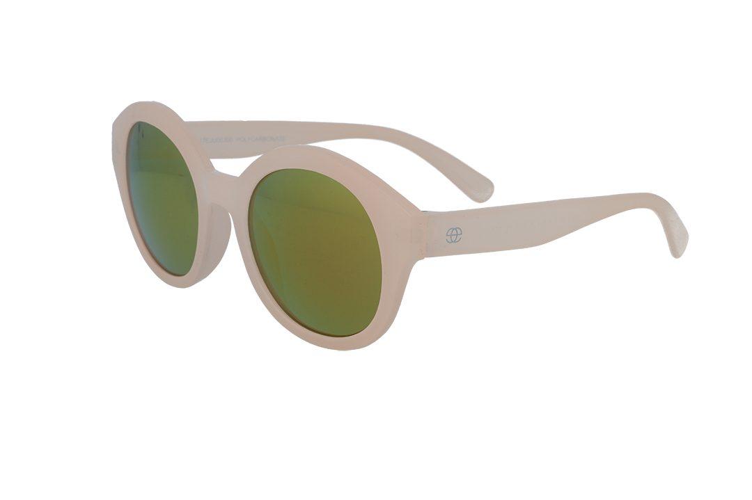 משקפי שמש לילדים מבית Erroca Eyewear בדגם עגול בגוון ניוד ועדשות מראה בגוון זהוב מתאים לגילאים 0-10